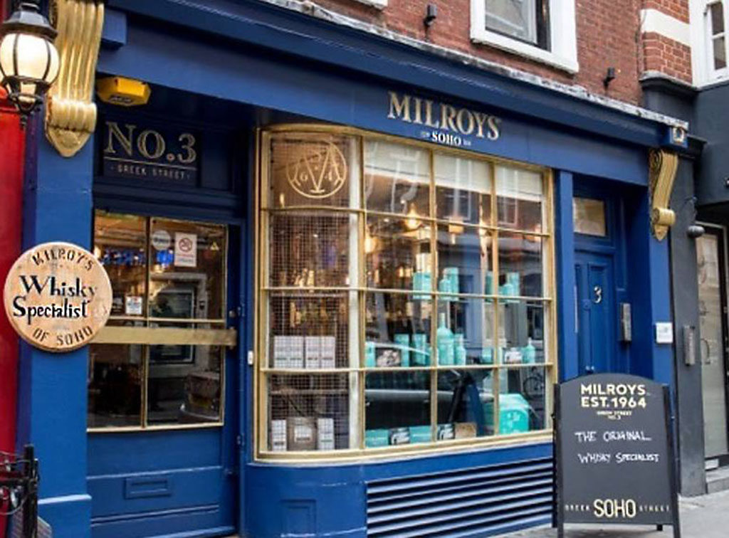 Outside picture of milroy's whisky bar soho blue whiskey shop