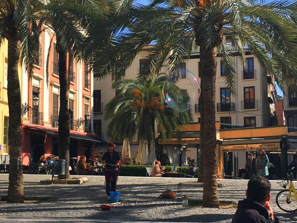 Plaza, Granada, Tapas, Street Art, Palm trees, bubbles, best tapas bars granada