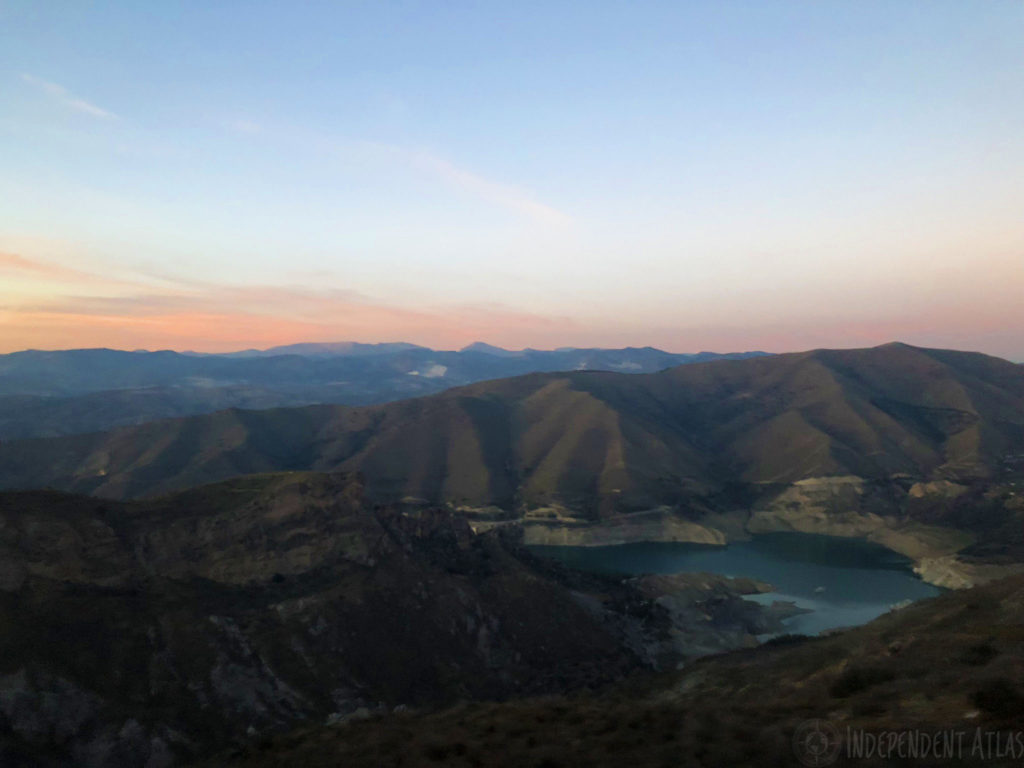snowboarding in spain, skiing in spain, snowboarding the sierra nevada mountains, sunset