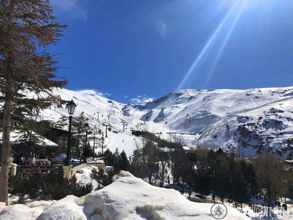 snowboarding in spain, skiing in spain, snowboarding the sierra nevada mountains, tree, cable car