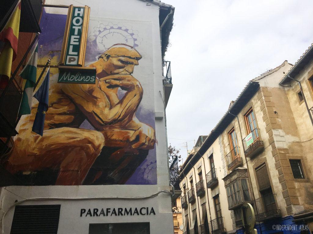 Street art and graffiti tour of granada, spain, the thinker,