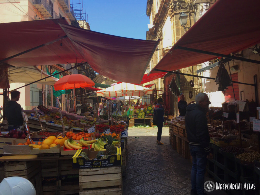 Colourful fruit and veg on stalls in capo market, Palermo street food, Street food in Palermo,