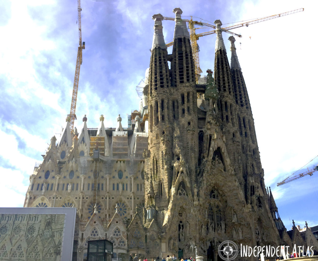 A day in Barcelona,, Sagrada Familia - the Nativity facade, depicting the sunrise to the northeast and elements of nature and the creation of life.