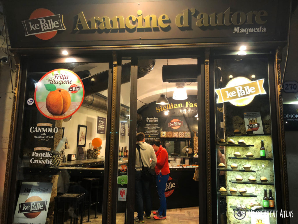 Picture of KePalle aanchini shop with all their arancini types in the window, Palermo street food, Street food in Palermo,