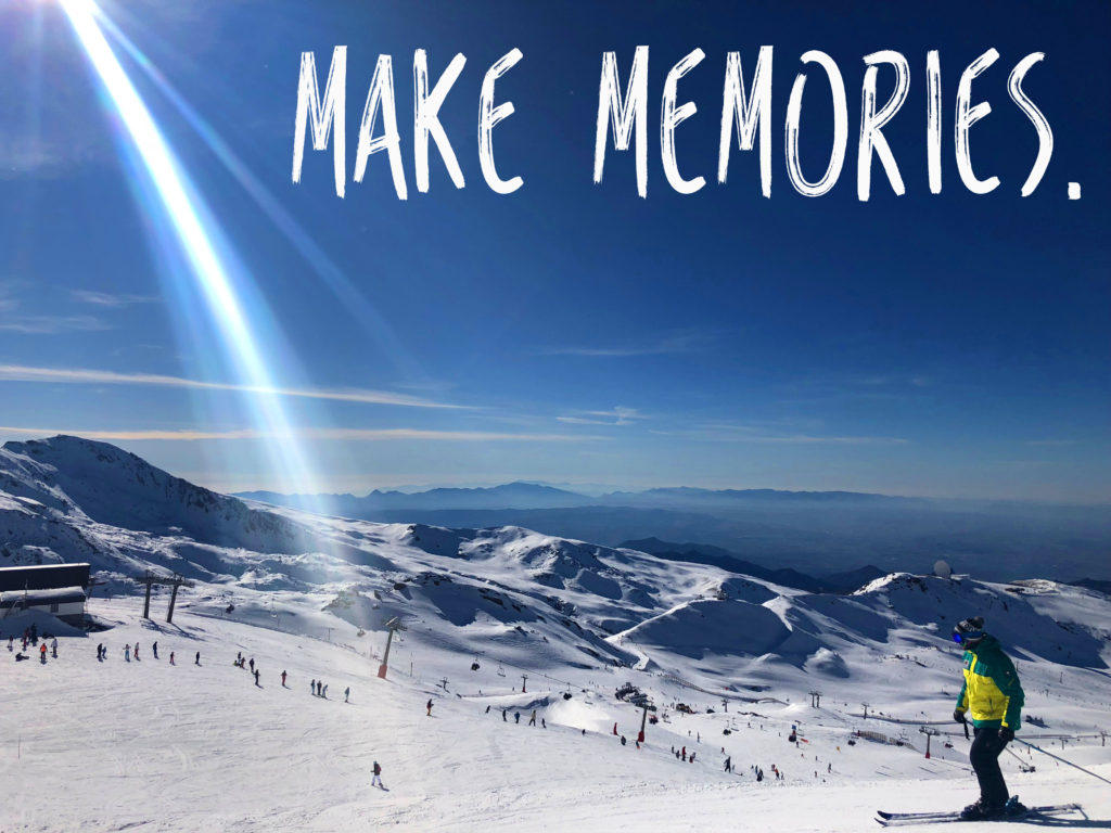 View of blue sky and snow in sierra mountains with Make memories written in white, How to budget for travel, Budgeting while travelling