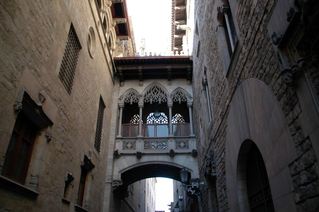 A day in Barcelona,ornate Gothic style covered bridge links two ancient buildings in the Historic centre
