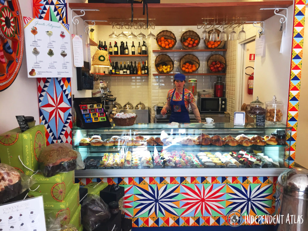 Coulourful street food shop with lots of different fried snacks, Palermo street food,Street food in Palermo,