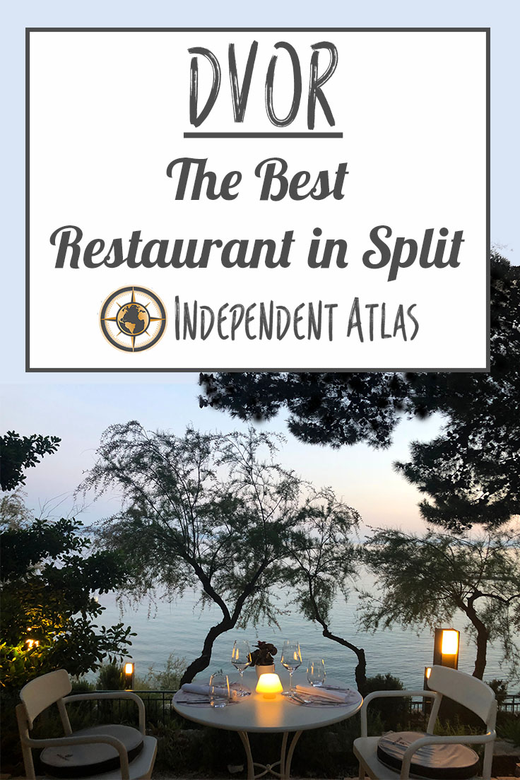 Dvor the best restaurant in Split, Croatia, Pinterest Pin with Image of view from the restaurant garden and candlelit tables that look over the sea